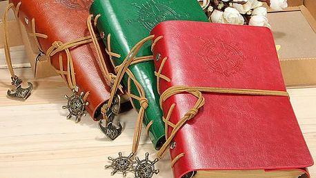 Cestovatelský deník v kožených deskách - poštovné zdarma