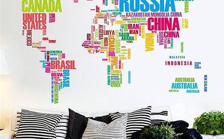 Samolepka na zeď - barevná mapa světa