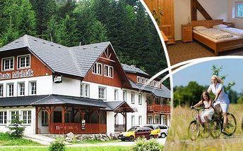 Špindlerův Mlýn - ubytování na břehu Labe v klidné oblasti Krkonoš v nově zrekonstruované horské Chatě Michlák pro 2 osoby a 1 dítě do 12 let zdarma. Každodenní polopenze, SpindlCard se spoustou slev, vyžití pro děti hned u hotelu a navíc sleva na zapůjče