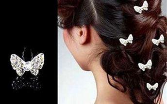Motýlek do vlasů s kamínky - dodání do 2 dnů