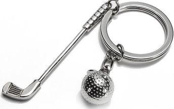 Klíčenka ve tvaru golfového míčku a hole
