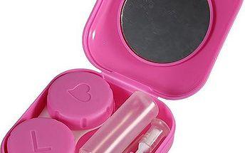 Růžové pouzdro na kontaktní čočky s výbavou