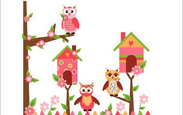 Samolepicí dekorace Růžové sovičky za plotem