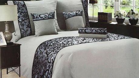 NOVIA Luxusní povlečení se saténem, francouzské, bavlna, 3 dílné, šedá, 220x200 70x90 70x90
