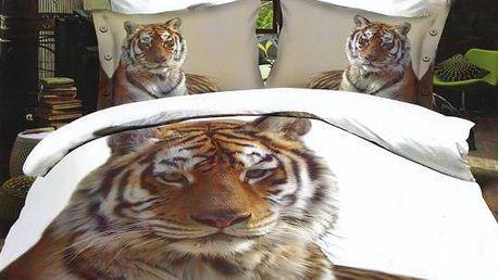 NOVIA Povlečení Francouzské s 3D efektem, bavlna, 3 dílné, Tygr, 200x220 70x90