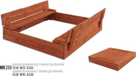 Dřevěné pískoviště 120x120 cm s víkem
