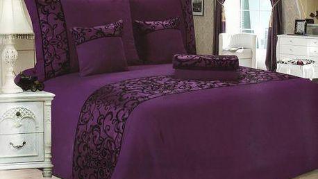 NOVIA Luxusní povlečení se saténem, francouzské, bavlna, 3 dílné, fialová, 220x200 70x90 70x90
