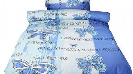 NOVIA Povlečení Motýlek, bavlna, 2 dílné, modrá, 140x200 70x90