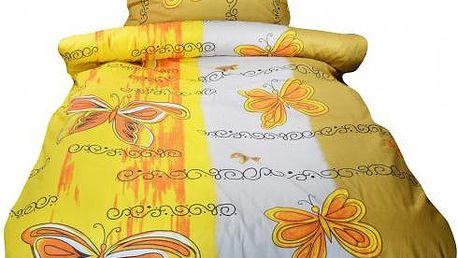 NOVIA Povlečení Motýlek, bavlna, 2 dílné, žlutá, 140x200 70x90