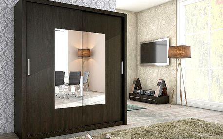 Moderní šatní skříň ALFA 180 se zrcadlem wenge
