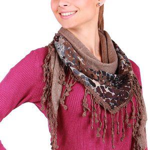 Stylový, hřejivý šátek hnědá