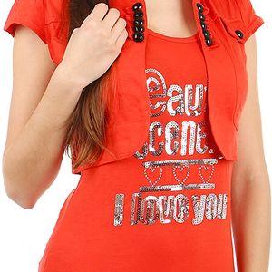Moderní bolerko s krátkým rukávem světle červená
