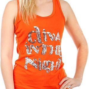 Úžasné tílko s nápisem z flitrů oranžová