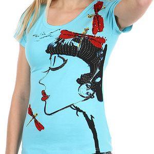 Krásné tričko s netradičním potiskem a kamínky modrá