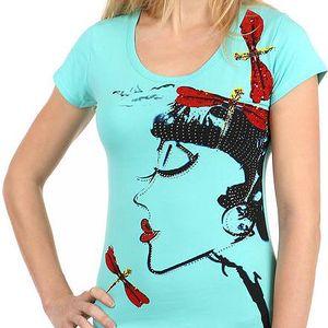 Krásné tričko s netradičním potiskem a kamínky zelená