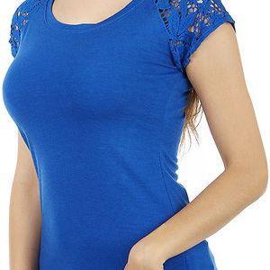 Zajímavé tričko s krajkovými rukávy tmavě modrá