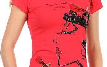 Krásné tričko s netradičním potiskem a kamínky červená