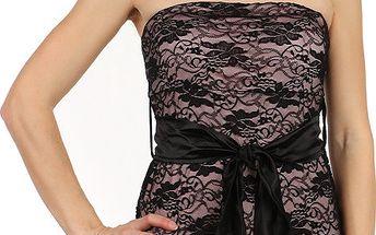 Dámské mini šaty s krajkou růžová