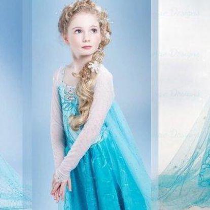 Překrásný dětský kostým, šaty princezny Elsy zLedového království, staň se i ty opravdovou princeznou (vel.110-140). Připravte pro své děti ideální masku a zaručte jim pozornost jejich okolí.