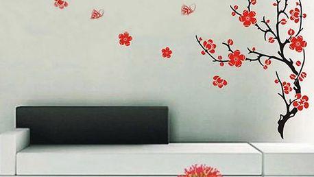 Nálepka na zeď - strom s červenými květy - skladovka - poštovné zdarma
