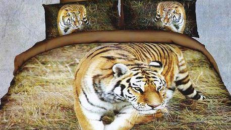 NOVIA Povlečení Francouzské s 3D efektem, bavlna, 3 dílné, Tygr ve stepi, 200x220 70x90