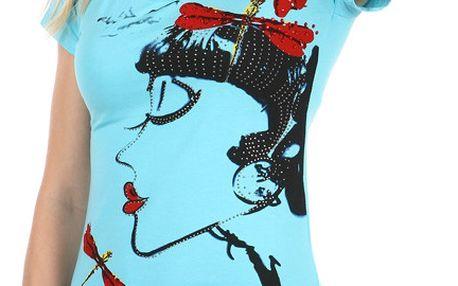 Dámské triko s avantgardním potiskem modrá