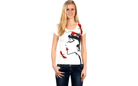 Krásné tričko s netradičním potiskem a kamínky bílá