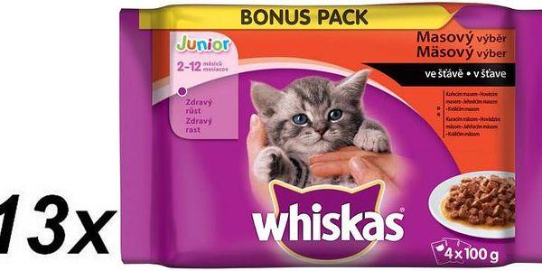 Whiskas JUNIOR Masový výběr ve šťávě BONUS 13 x 4pac