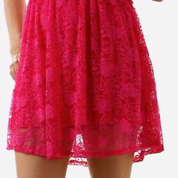 Dámské krajkové šaty bez ramínek růžová