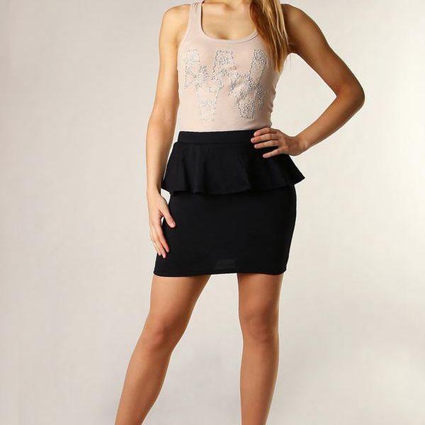 Dámská sukně s volánkem vysoký pas černá