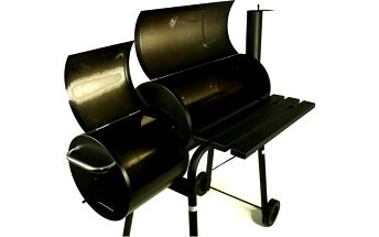 Zahradní ocelový gril s udírnou, ocelový plech, kolečka, odkládací plochy