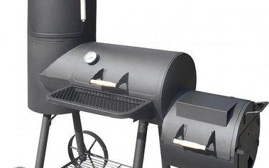 Ocelový zahradní maxi gril s udírnou, ocelový plech 1,5 mm