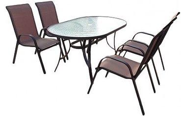 Sestava zahradního nábytku Nerang, oválný stůl + 4 židle