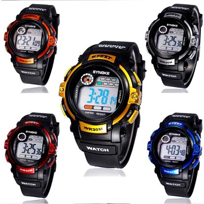 Vodotěsné sportovní hodinky - podsvícení, stopky, budík, datum. Vhodné na běžné nošení i na sport.