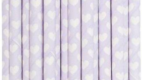 Balení 25 papírových brček Lavender Hearts