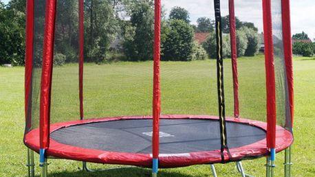 GoodJump GoodJump 4UPVC červená trampolína 366 cm s ochrannou sítí + žebřík + krycí plachta
