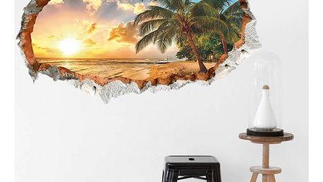 3D samolepka na zeď - Ostrov v západu slunce