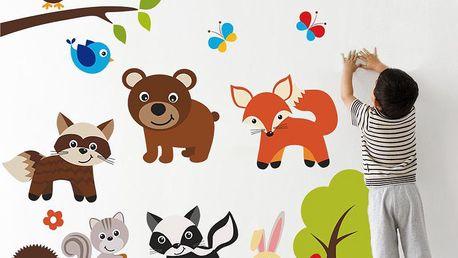 Housedecor Samolepka na zeď Medved a zvířátka