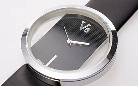 Stylové dámské hodinky V8 s koženým páskem. Vyberte si elegantní černou nebo něžnou bílou variantu.