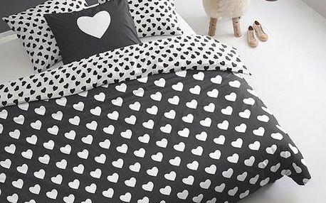 Povlečení Hearts 200x200 cm, černé - doprava zdarma!
