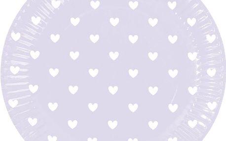 Sada papírových talířů Miss Étoile Lavender Hearts, 8 ks