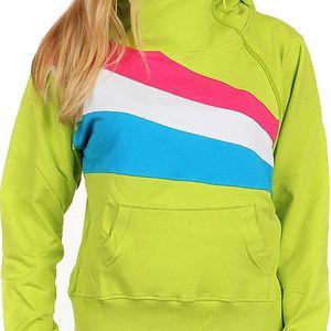 Sportovní dámská mikina s barevnými pruhy růžová