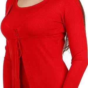 Zajímavý svetřík 2v1 červená