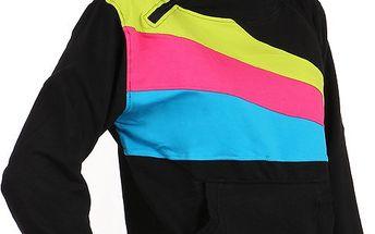 Sportovní dámská mikina s barevnými pruhy černá