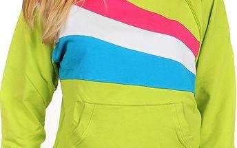Sportovní dámská mikina s barevnými pruhy zelená