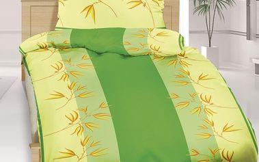 Bellatex Bavlněné povlečení Rákos zelená, 140 x 200 cm, 70 x 90 cm