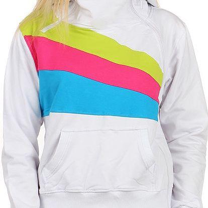 Sportovní dámská mikina s barevnými pruhy bílá