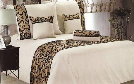 NOVIA Luxusní povlečení se saténem, francouzské, bavlna, 3 dílné, krémová, 220x200 70x90 70x90