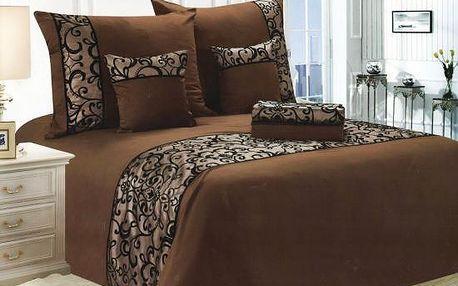 NOVIA Luxusní povlečení se saténem, bavlna, 6 dílné, hnědá, 140x200 70x90 40x40