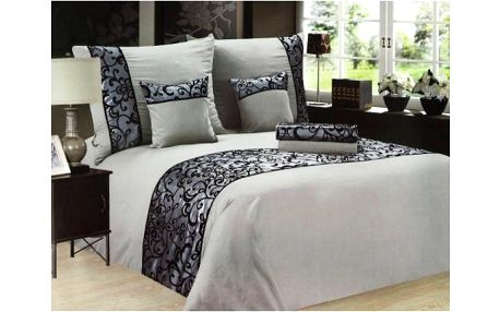 NOVIA Luxusní povlečení se saténem, bavlna, 6 dílné, šedá, 140x200 70x90 40x40